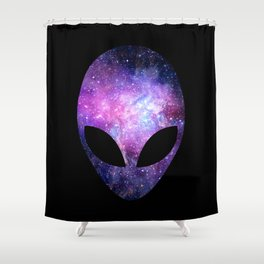Alien Head With Conceptual Universe Purple Shower Curtain