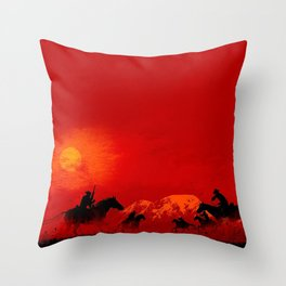Red cowboys Throw Pillow
