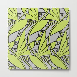 Modern art nouveau tessellations green gray Metal Print