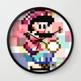 Super Mario Pixel Cubism Wall Clock