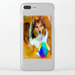 Sheltie with Ball Clear iPhone Case