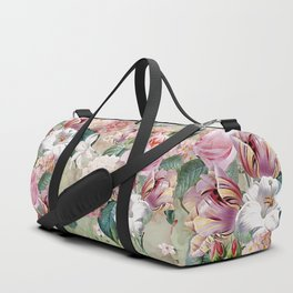 Vintage & Shabby Chic -Blush Pink Botanical Spring Roses Garden  Duffle Bag
