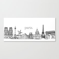 Paris Landmarks by the Downtown Doodler Canvas Print