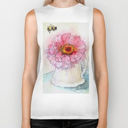 Botanical Flower Pink Zinnias in Pitcher Biker Tank