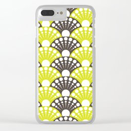 polka dotted fan pattern in brown and lime Clear iPhone Case