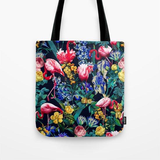 Floral and Flemingo V Pattern Tote Bag