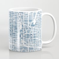 blueprint Mugs featuring Washington DC Blueprint watercolor map by Anne E. McGraw