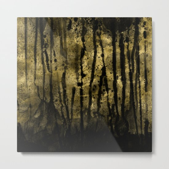 Black and Gold grunge modern abstract ink background Metal Print