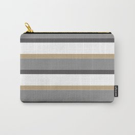 Grey And Gold Stripes with White Carry-All Pouch