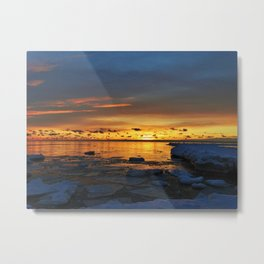 Sunset in Muskegon, Michigan Metal Print