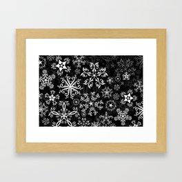 Symbols in Snowflakes on Black Framed Art Print