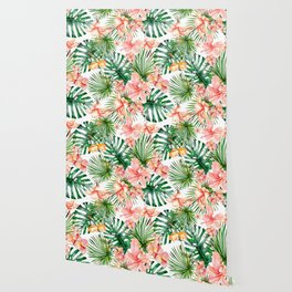 Tropical Jungle Hibiscus Flowers - Floral Wallpaper