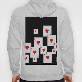 RED HEART ACES CASINO PLAYING CARDS ON BLACK Hoody