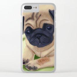 Cute pug on green sofa Clear iPhone Case