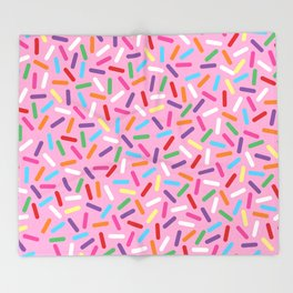 Pink Donut with Sprinkles Throw Blanket