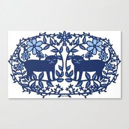Scandinavian Cat blue Canvas Print