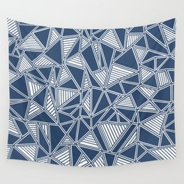Abstract Outline Lines Navy Wall Tapestry