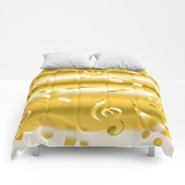 Faux Gold Metallic Treble and Bass Musical Notation Comforters