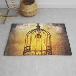 lightbulb in cage Rug