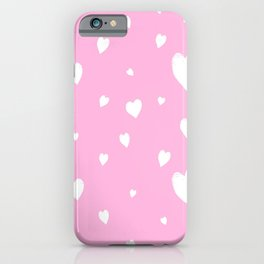 Hand-Drawn Hearts (White & Pink Pattern) iPhone Case