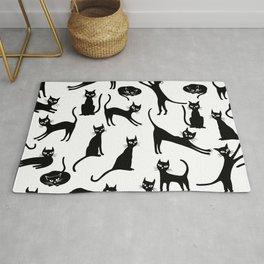 Black cats, seamless patten Rug
