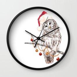 Christmas Owl GREETING Wall Clock