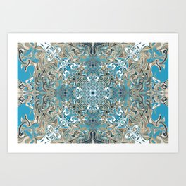 Turquoise Blue and Tan Pattern Art Print