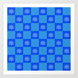 Retro Blue Lotus Checkerboard Art Print