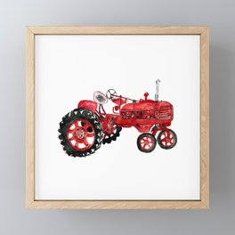 Watercolor old farming red tractor Framed Mini Art Print