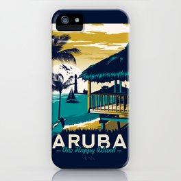 aruba vintage travel poster iPhone Case
