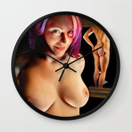 2376s-JG Beautiful Jessica Naked Before the Mirror by Chris Maher Wall Clock