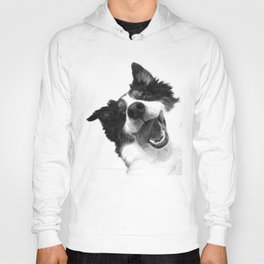 Black and White Happy Dog Hoody