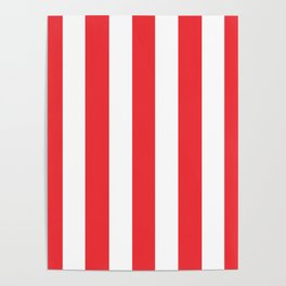 Deep carmine pink - solid color - white vertical lines pattern Poster
