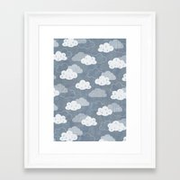 rain Framed Art Prints featuring RAIN CLOUDS by Daisy Beatrice
