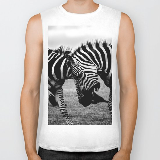 Let's Fight! // Wildlife Zebra Black Adn White Photography #society6 #art #prints Biker Tank