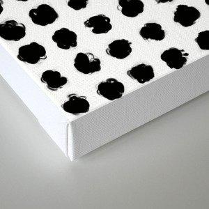 Black and White Minimal Minimalistic Polka Dots Brush Strokes Painting Canvas Print