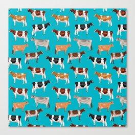 Dairy Breeds // Cerulean Canvas Print
