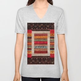 Bohemian Oriental Traditional Moroccan Rug Style Illustration Unisex V-Neck