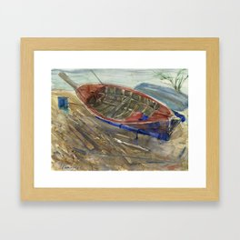 The old chabby boat on the sand Framed Art Print