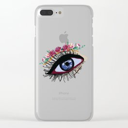 Blue eye & flowers Clear iPhone Case