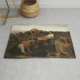 Jules Breton - The Colza (Harvesting Rapeseed) Rug