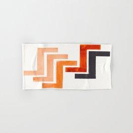 Burnt Sienna Aztec Pattern Mid-century Modern Simple Geometric Pattern Watercolor Minimalist Art Squ Hand & Bath Towel