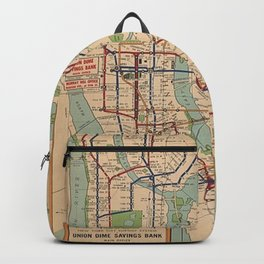 New York City Metro Subway System Map 1954 Backpack