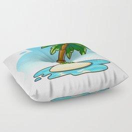Palm Tree on Small Island  Floor Pillow