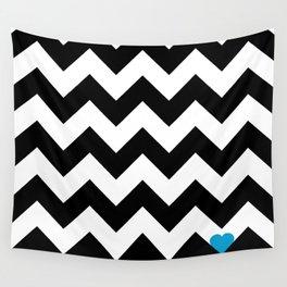 Heart & Chevron - Black/Blue Wall Tapestry