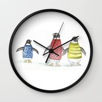 penguins Wall Clocks featuring penguins by Maria Durgarian