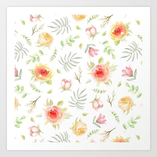 Vintage pattern. Roses Art Print