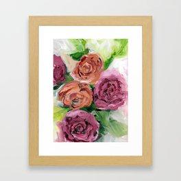 Peachy Keen Spring Floral Bouquet Framed Art Print