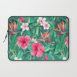 Classic Tropical Garden with Pink Flowers Laptop Sleeve