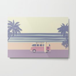 Surfer Graphic Beach Palm-Tree Camper-Van II Metal Print